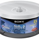 SONY 25DPR47LS4 4.7 GB WRITE ONCE DVD+R SPINDLE (25 PK)