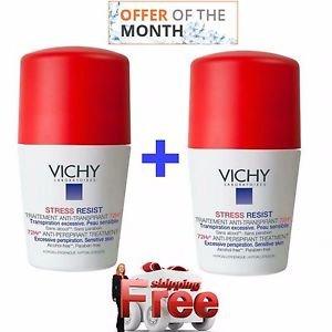 2Pack Vichy Deodorant Stress Resist ANTI-PERSPIRANT 72hr Roll on  2 X 50ml