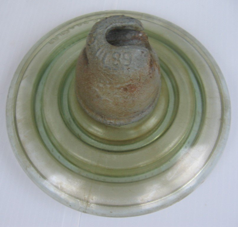 LARGE OLD RAILWAY 'FLYING SAUCER' GREEN GLASS & METAL INSULATOR RUSSIAN 1989