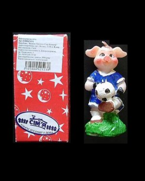 FOOTBALL PLAYING PIG IN LOOK LIKE CHELSEA NUMBER 11 SHIRT