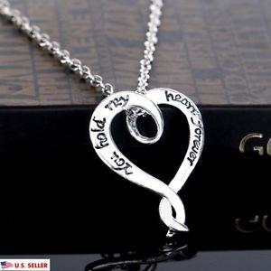 USA Fashion 925 Sterling Silver Chain Heart Shape Pendant Women Necklace