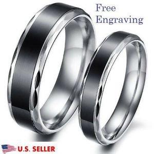 Custom Engraving 2 PCS Black & Silver Stainless Steel Rings Couple Promise Rings
