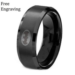 Free Engraving 8MM Personalized Batman Black Tungsten Men Polished Ring Band
