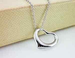 USA Fashion 925 Sterling Silver Chain Heart Shape Women Necklace Heart Pendant