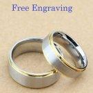 Free Engraving 2 pcs Gold & Silver Titanium Steel Couple Ring Set Matching Rings