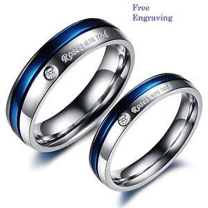 Free Engraving 2 pcs Blue & Silver Titanium Steel Couples Ring Set Promise Ring