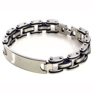 Fashion Men Silver Tungsten Steel Black Rubber New ID Bracelet Bangle Wristband