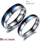 Custom Engraving 2 PCS Blue & Silver Titanium Steel Couple Promise Rings Set