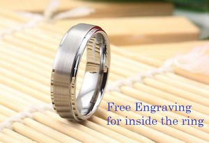 Free Engraving Tungsten Ring Band Men Silver Ring Carbide Beveled Edges Ring