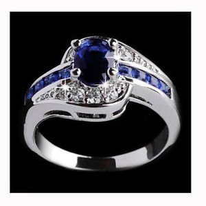 Women Blue Sapphire Gemstone 925 Sterling Silver Plated Engagement Wedding Ring