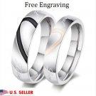 2 PC Custom Engraving Stainless Steel Couple Rings Wedding Promise Love Rings