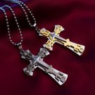 USA Men Women Gold & Black Stainless Steel Cross Pendant Couple Necklace Chain