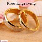 Free Engraving 18K Rose Gold 2 PCS Forever Love Couple Promise Wedding Ring Set