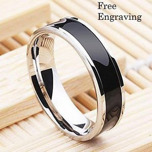 Free Engraving 6MM Black Titanium Steel Personalized Promise Engagement Ring