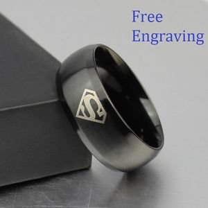 Free Engraving 8MM Persoalized Superman Symbol Men His Black Tungsten Ring Band
