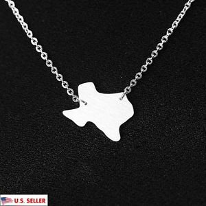USA Texas State 925 Sterling Silver Pendant Charm Necklace Texas Map Necklace