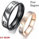 Custom Engraving 2 PCS True Love Stainless Steel Couple Ring Set Promise Rings