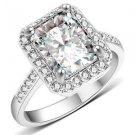 Platinum White Gold Plated Square Style White Sapphire Wedding Ring For Women