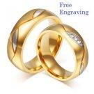 Free Engraving 2 pcs 18k Gold Titanium Steel Couples Ring Set Promise Rings