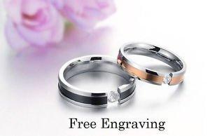 Free engraving rhinestone stainless steel 2 pcs couples ring set, promise ring