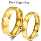 Free Engraving 2 pcs 18k Gold Facet Style Couples Ring Set Promise Wedding Rings