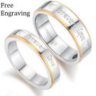 Custom Engraving 2 PCS Forever Love Titanium Steel Couple Ring Set Promise Rings