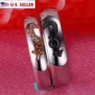 Free Engraving 2 PCS Gender Symbols Heart Shape Titanium Steel Couples Ring Set