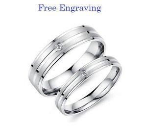 Free Engraving 2 pcs Titanium Steel Couples Ring Set Promise Matching Rings