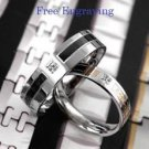 Custom Engraving Simulated Diamond Titanium Steel 2 pcs Couple Promise Rings Set