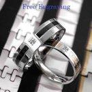 Custom Engraving Simulated Diamond Titanium Steel 2 pcs Couple Promise Rings Set