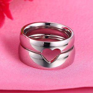 Free Engraving 2 PCS Cut Out Heart Shape Titanium Steel Promise Couple Rings