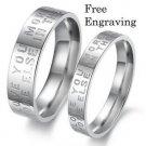Custom Engraving 2 pcs Love Letter Stainless Steel Couple Ring Set Promise Rings