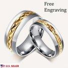 Custom Engraving 18K Gold Titanium Steel Couple Promise Wedding Bands Rings