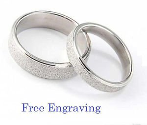 Free Engraving Silver Frosted Engagement Promise Rings Wedding Couple Ring Set