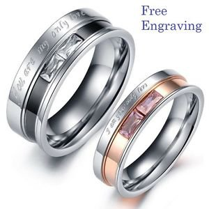 Free engraving Exquisite Titanium Steel Couple Ring Set Engagement Promise Ring