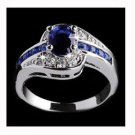 Women Blue Sapphire Gemstone Silver Plated Engagement Wedding Promise Ring