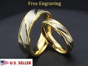 Custom Engraving 2 PCS 18K Gold Titanium Steel Couple Promise Wedding Rings
