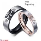 Custom Engraving Stainless Steel Saint Couple Promise Engagement Wedding Rings