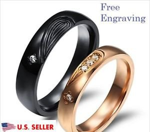 Free Engraving 2 PCS Matching Heart Stainless Steel Couple Promise Wedding Rings