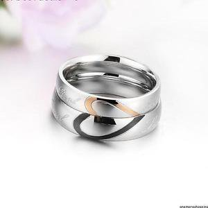 2 PCS Real Love Heart Shape Titanium Steel Couple Ring Set Promise Wedding Ring