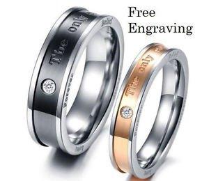 Free Engraving 2 PCS Eternal Love Titanium Steel Couple Promise Engagement Rings