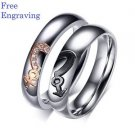 Free Engraving 2 PCS Gender Symbols Heart Shape Couple Engagement Matching Rings