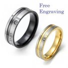 Free Engraving 2 PCS Love Only You Stainless Steel Couple Ring Promise Rings Set