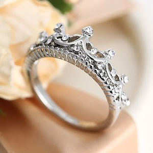 USA New Queen Princess Women Silver Plated Rhinestone Crown Ring Size 6-8