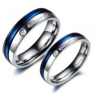 2Pcs Blue & Silver Titanium stainless Steel Couple Promise Engagement Rings Set