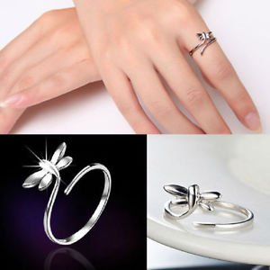 Women 925 Sterling Silver Dragonfly Ring Finger Opening Adjustable Ring Jewelry