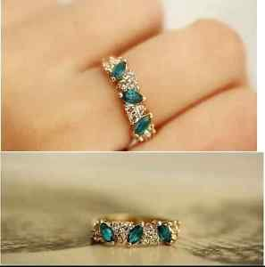 USA Women's Gold Silver Plated Fashion Vintage Emerald Crystal Ring Jewelry #6