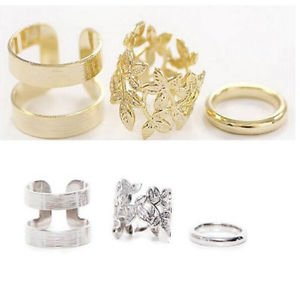 3PCS Fashion Women Midi Finger Ring Set Gold & Silver Above Knuckle Stack Rings