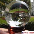 USA 40mm+Stand Asian Rare Natural Clear Magic K9 Crystal Healing Ball Sphere