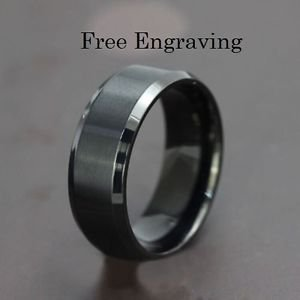 Free Engraving Black Tungsten Ring, Men Ring, Tungsten Band, Personalized Ring